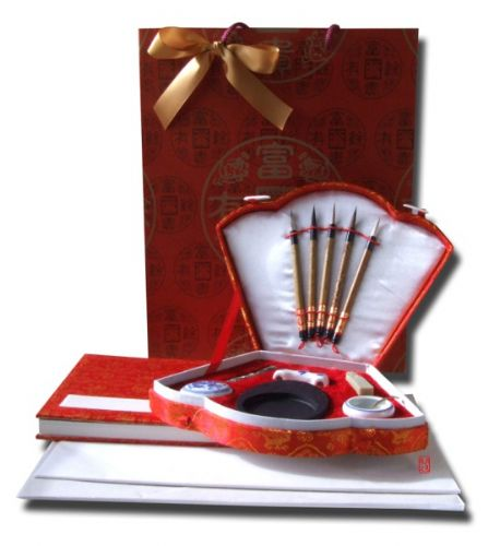 Gift Set - Chinese Calligraphy writing set red fan shaped (F535) book and A4 paper packs X2